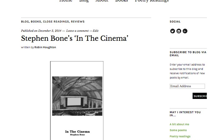 screenshot of this blog