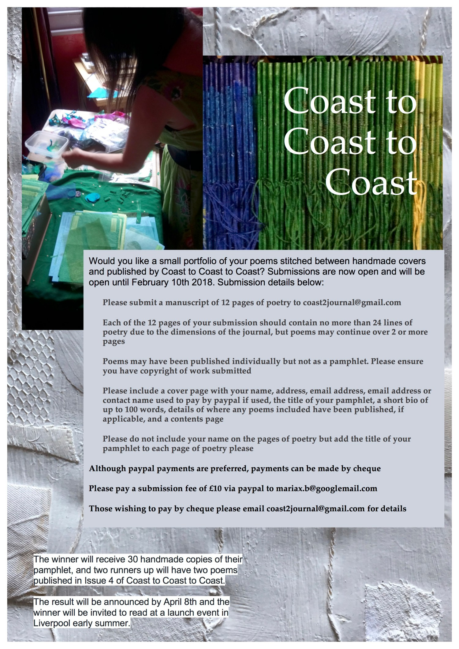 Coast to Coast to Coast handmade poetry pamphlet competition
