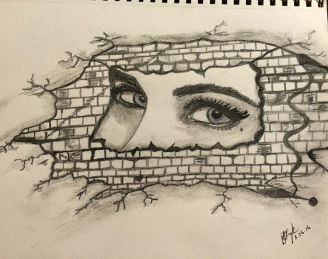 original drawing woman peeking out of brick wall