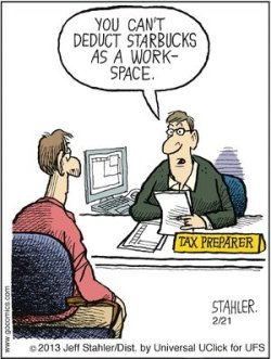 tax preparer and client discussing write-offs