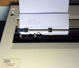 vintage typewriter with paper in it
