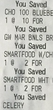 Snippet of a Grocery Receipt