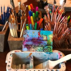 arti supplies and custom postcard featuring artist RobinLK's orginal art