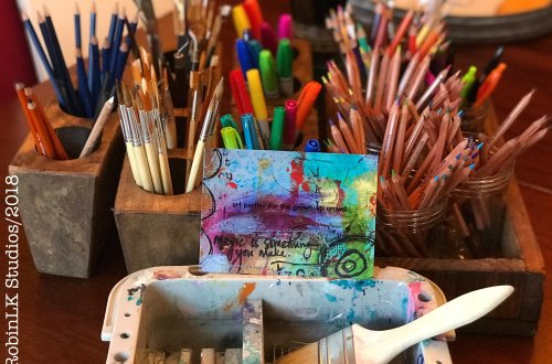 arti supplies and custom postcard featuring artist RobinLK's orginal art