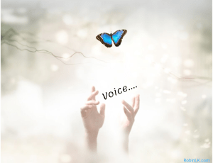 hands lifted upward with blue butterfly in clouds