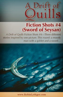 A Drift of Quills: Fiction Shots #4— It's flash fiction! Three different stories inspired by one picture. This round: A man, a sword, and a tale. www.robinlythgoe.com