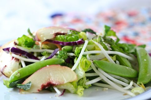 Salad -peaches, sprouts, peas © Robin E. H. Ove All Rights Reserved