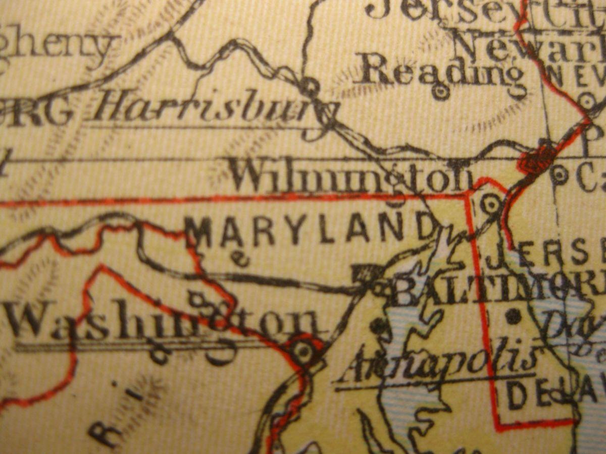 1929 VINTAGE MAP MARYLAND