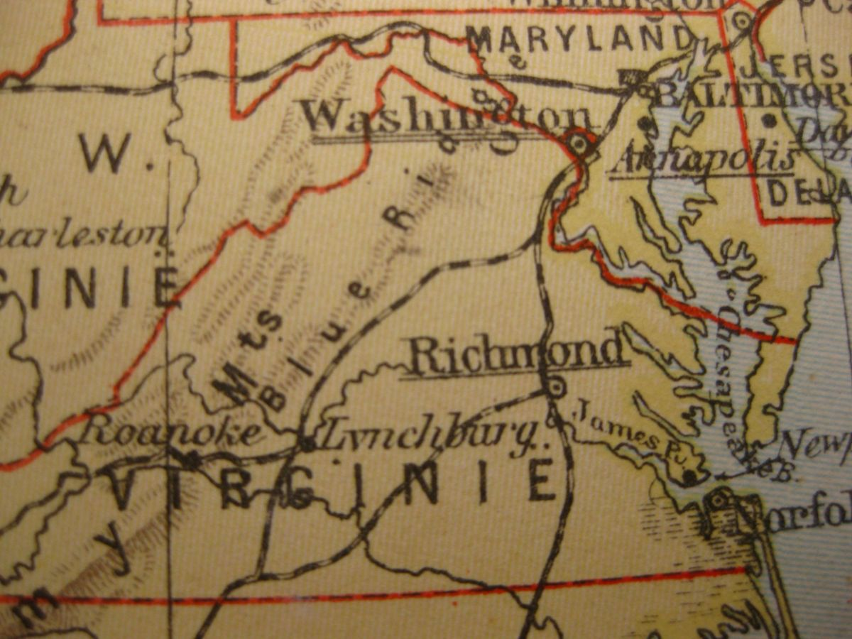 1929 VINTAGE MAP THE OLD DOMINION