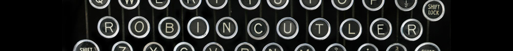 Typewritter whose keys spell out the name Robin Cutler