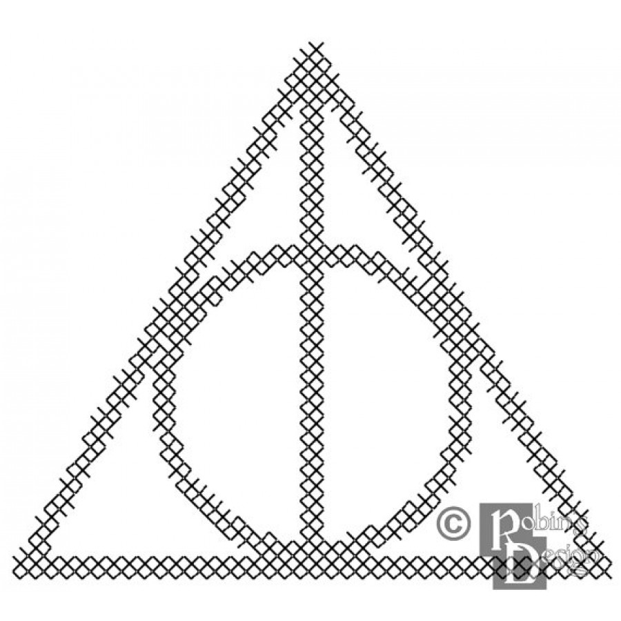 The Deathly Hallows Symbol for Shirt Patch Cross Stitch
