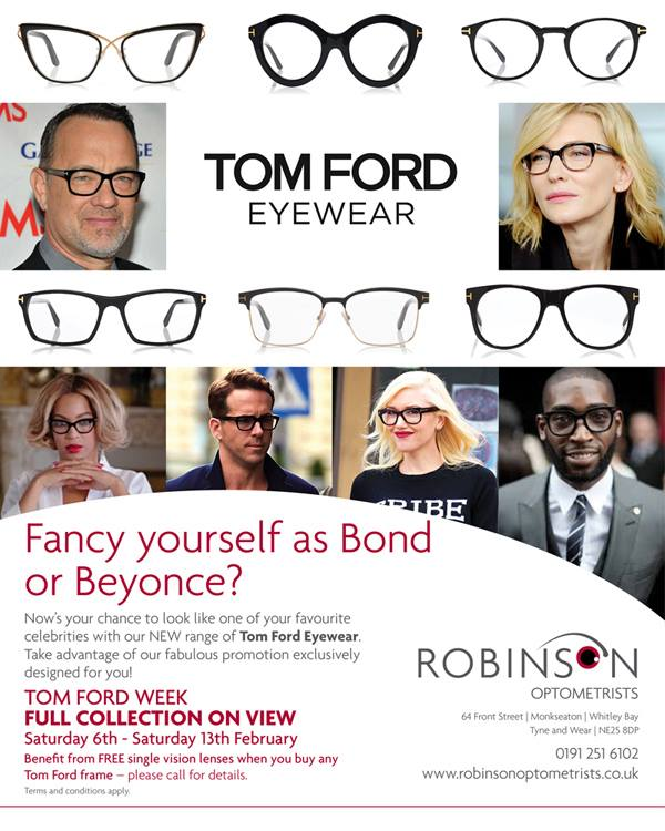 Tom Ford offer at Robinson Optometrists