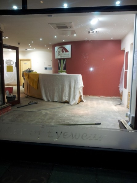 Robinson Optometrists, interior view of premises with flood damage