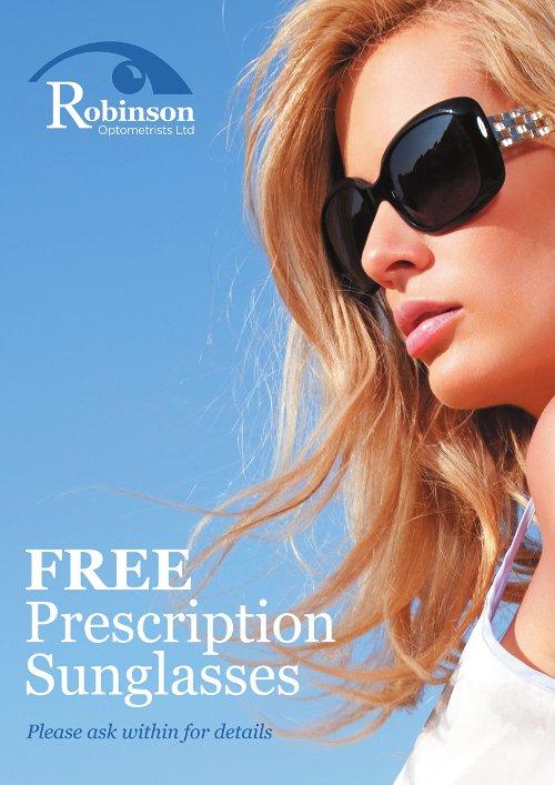 Free prescription sunglasses offer Robinson Optometrists image