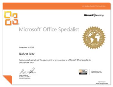 MOS: Excel 2010