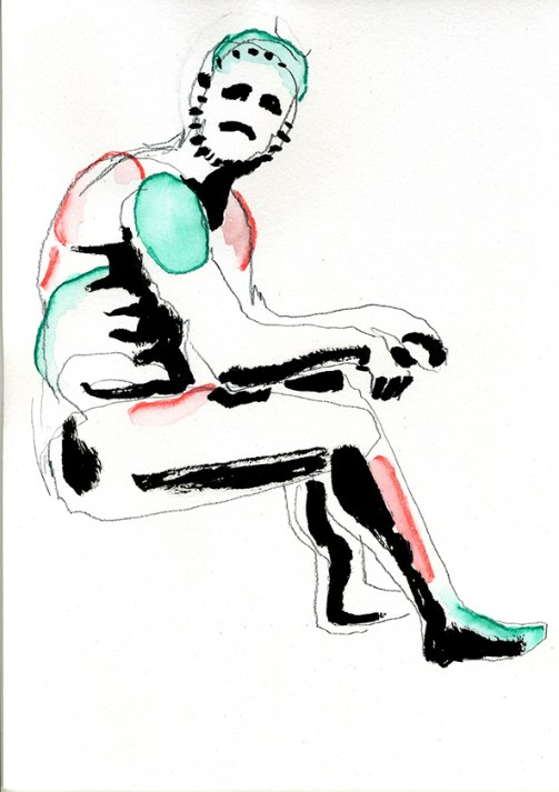 Boxer at rest 2 (pencil, ink and watercolour crayon - 29 x 21 cm)