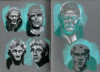Broken faces (ink and watercolour crayon - 21 x 29 cm)