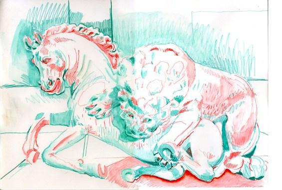 Lion and horse (watercolour crayon - 29 x 42 cm)