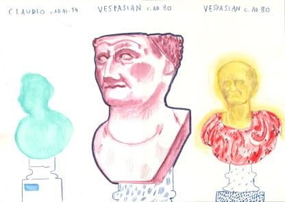 Big heads. Watercolour crayon on paper. 30 x 42 cm