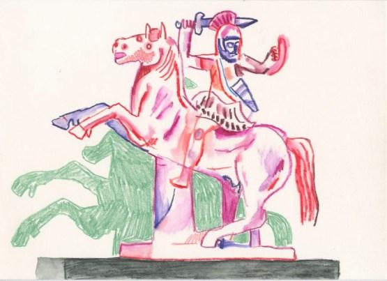 Warrior. Watercolour crayon on paper. 20 x 30 cm
