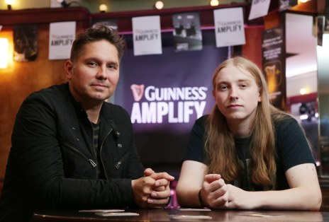 Picture by Darren Kidd / Press Eye. GUINNESS AMPLIFY GOES LIVE IN ULSTER Jonny Quinn, drummer with global sensation, Snow Patrol, and founder of Polar Patrol Publishing takes time out to catch up Chris Hanna of electronic music act UNKNWN, ahead of his gig at The Errigle as part of Guinness Amplify Live Surprise gig in Ulster. UNKNWN shared the stage with two of most highly acclaimed musicians of 2014.