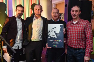 Martin Byrne from Other Voices accepting the award for IMRO Best Small Festival 2015 with Paddy McKenna, Victor Finn & Steve Lindsey.