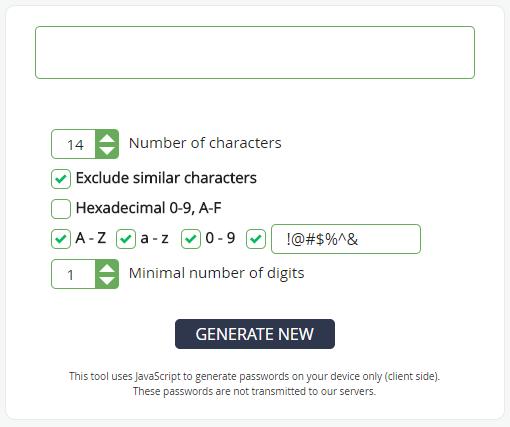 web password generator screencap