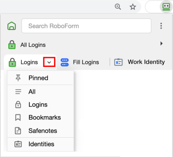RoboForm Browser Extension Tabs