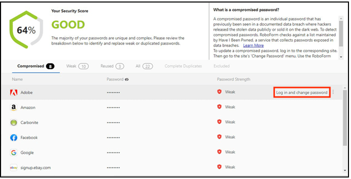 RoboForm enables you to easily change passwords exposed in data breaches