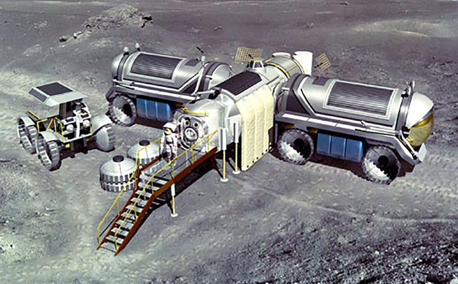 Artist's impression of a permanent moon colony. Image credit: NASA