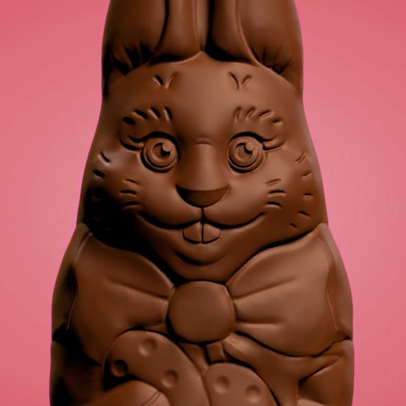 Digitale afbeelding van een 3D-model voor een chocolade paashaas, close up.