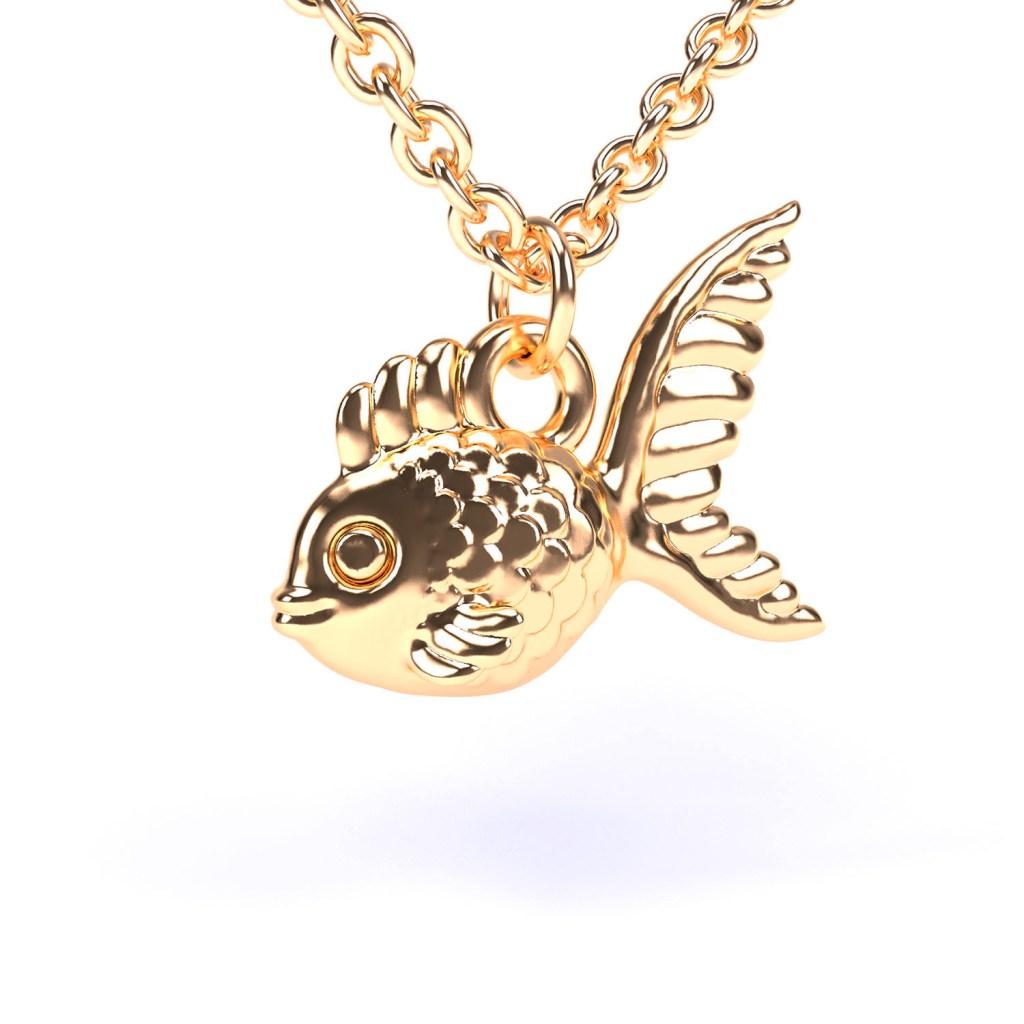 3d-model van een hanger in de vorm van een goudvis.
