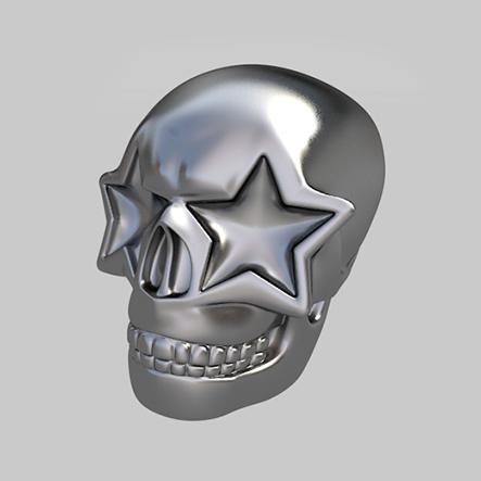 'Ron English-Skull', een speelstuk van het spel Streetopoly.