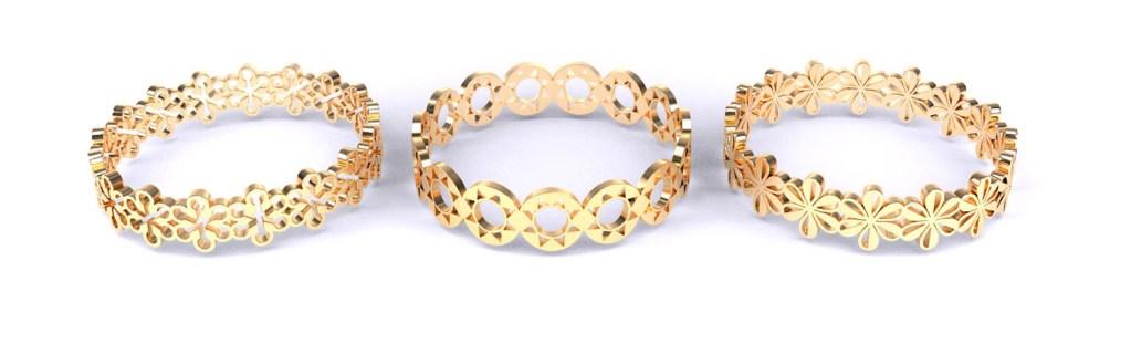 3D-modellen van een drietal ringen geïnspireerd op icoontjes van het font Zapf Dingbats.