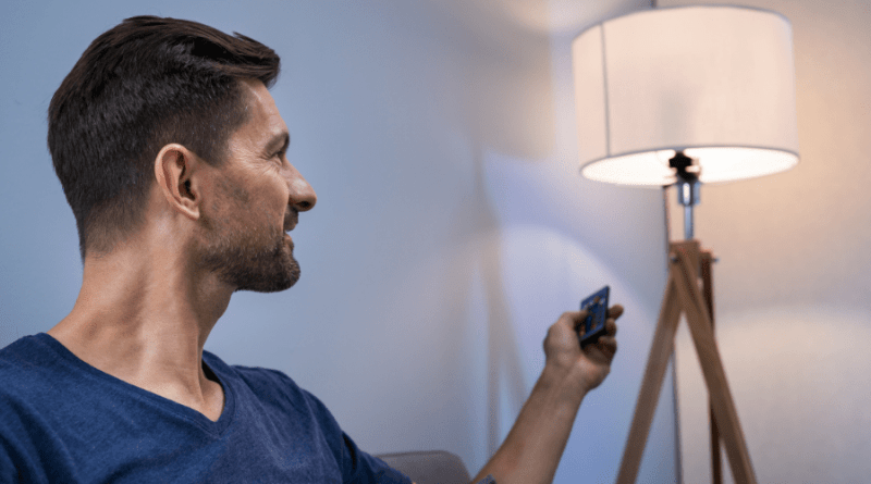 smart lights controlled by a man
