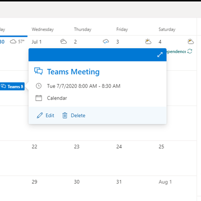Digital calendar highlighting a team meeting