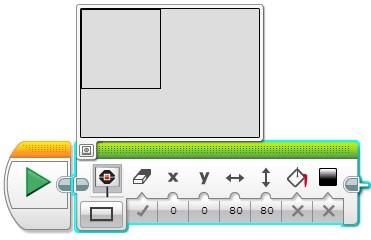 Программный блок Экран. Отображение прямоугольника