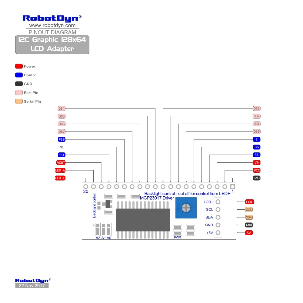 medium resolution of pinout i2c graphic 128x64 lcd adapter
