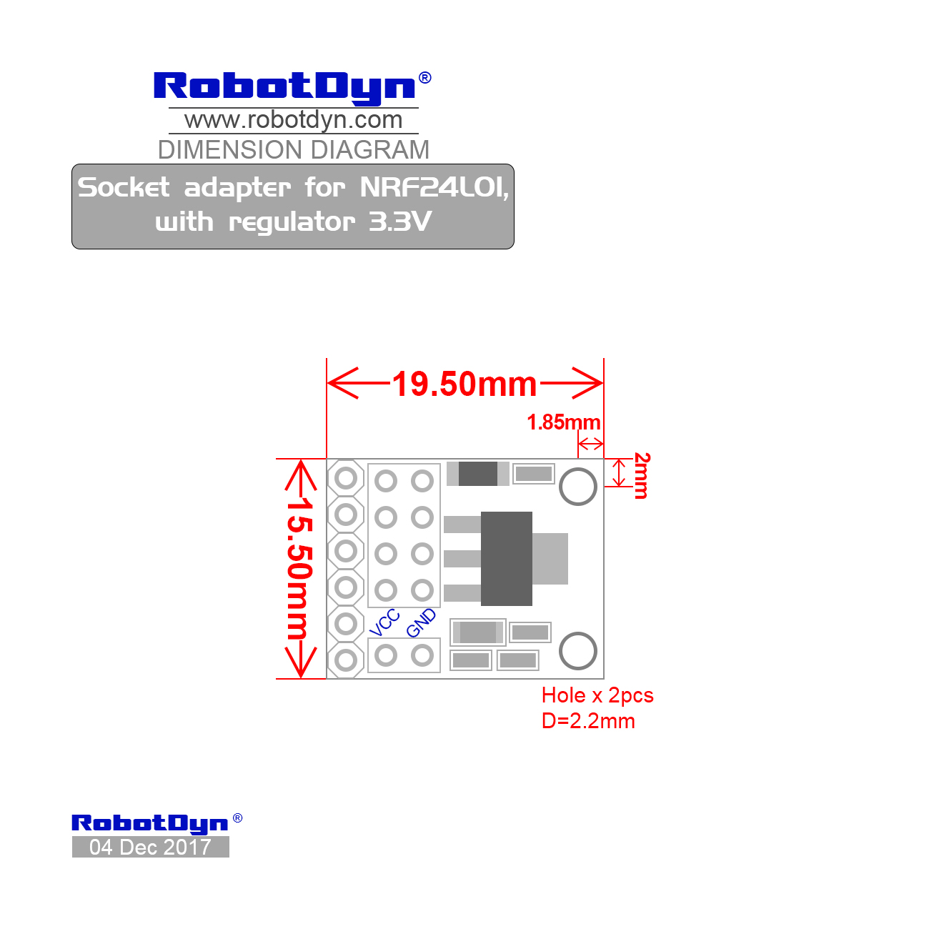 Socket Adapter For Nrf24l01 With Regulator 3 3v
