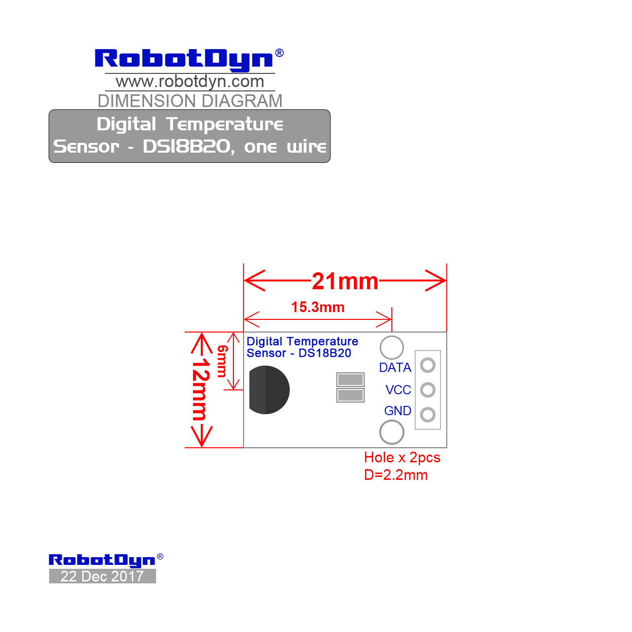 hight resolution of dimensions digital temperature sensor ds18b20 one wire
