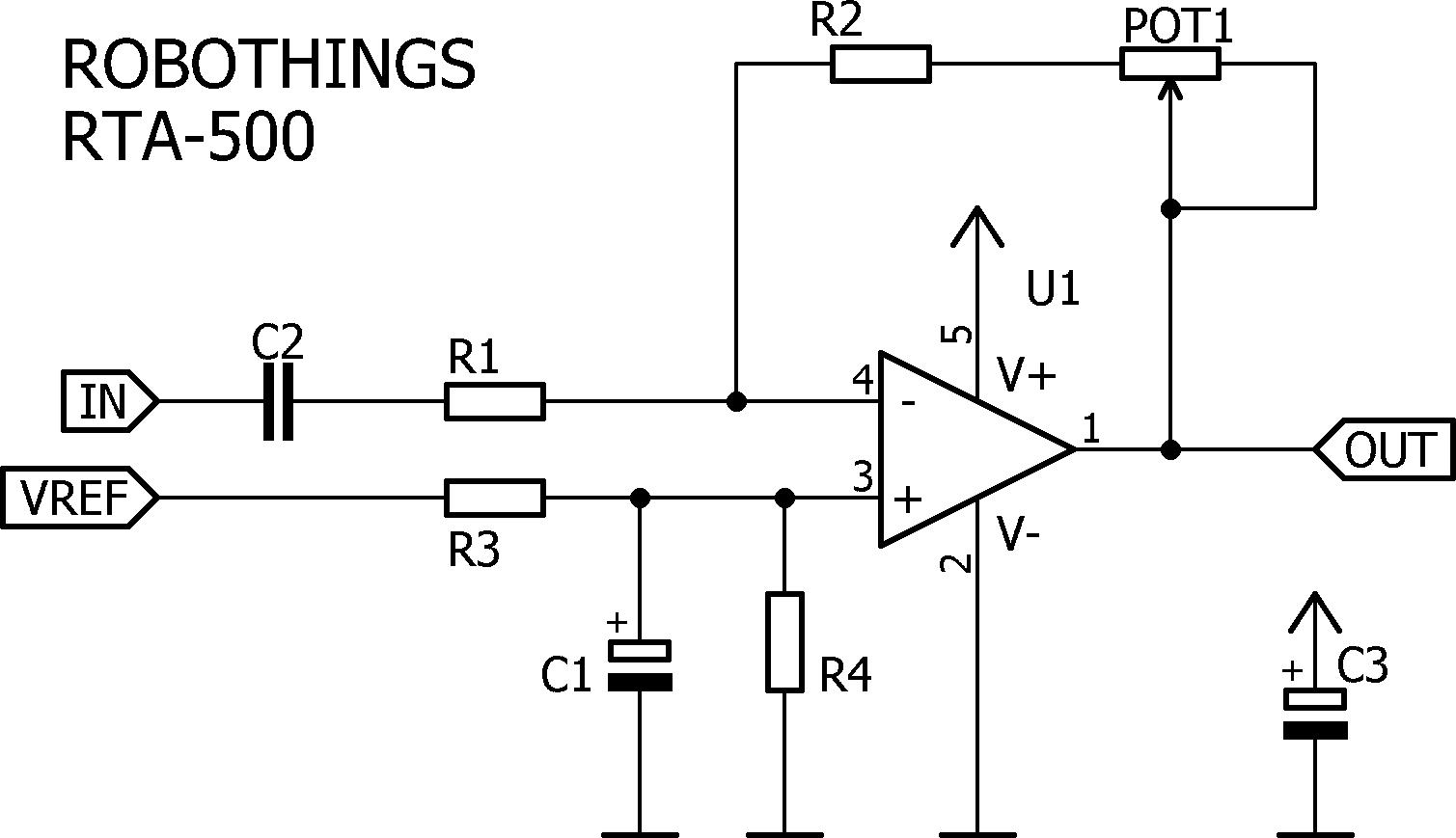 RTA-500 Pre-Amplifier, RRIO, Single Supply, Adjustable