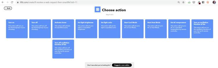 Schermafbeelding: Smart Life Actions in IFTTT
