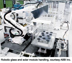 Robotic glass and solar module handling, courtesy ABB Inc.