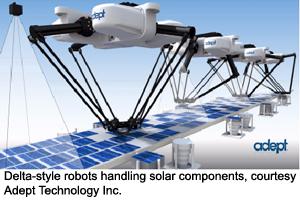 Delta-style robots handling solar components, courtesy Adept Technology Inc.