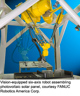Vision-equpiped six-axis robot assembling photovoltaic panel, courtesy FANUC Robotics America Corp.