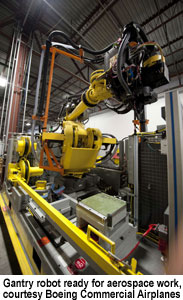 Gantry robot ready for aerospace work, courtesy Boeing Commercial Airplanes