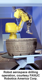 Robot aerospace drilling operation, courtesy FANUC Robotics America Corp.
