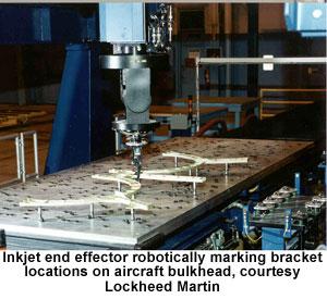 Inkjet end effector robotically marking bracket locations on aircraft bulkhead, courtesy Lockheed Martin