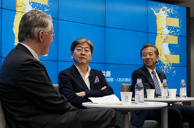 Left to right: Peter Korsten, Global Leader ,Thought Leadership and Eminence, IBM Global Business Services, Oki Matsumoto, Founder, Chairman and Chief Executive Officer of Monex Group, Inc., Paul Yonamine, General Manager, IBM Japan (Credit: IBM)