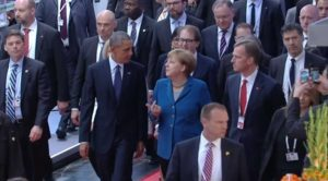 US President Barack Obama and German Chancellor Angela Merkel at Hannover Messe